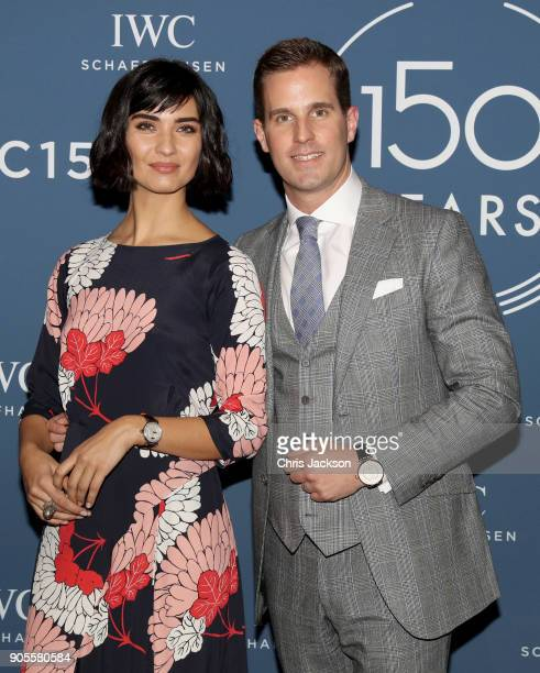 Schaffhausen CEO Christoph GraingerHerr andTuba Buyukustun at the IWC booth during the Maison's launch of its Jubilee Collection at the Salon...