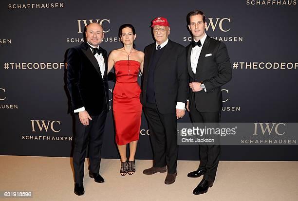 Schaffhausen CEO Georges Kern Birgit Lauda Niki Lauda and Incoming IWC Schaffhausen CEO Christoph GraingerHerr attend the IWC Schaffhausen Decoding...