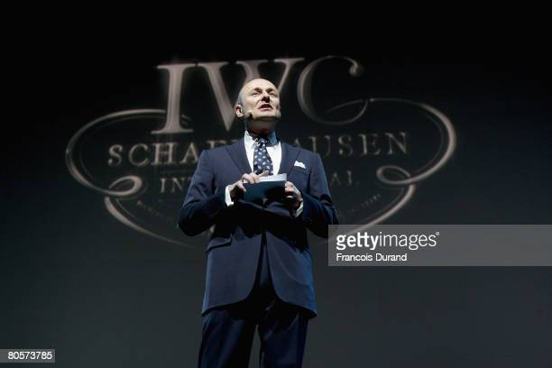 Schaffhausen CEO Georges Kern gives a speech during 'The Crossing' gala event hosted by IWC Schaffhausen held at the Geneva Palaexpo on April 8, 2008...