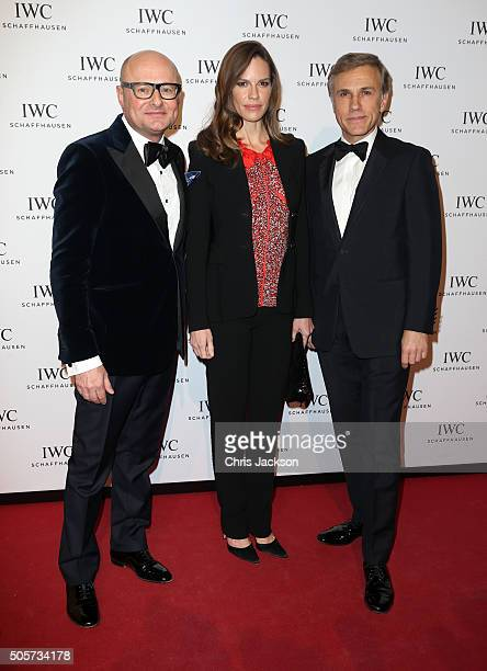 Schaffhausen CEO Georges Kern Hilary Swank and Christoph Waltz attend the IWC Come Fly with us Gala Dinner during the launch of the Pilot's Watches...