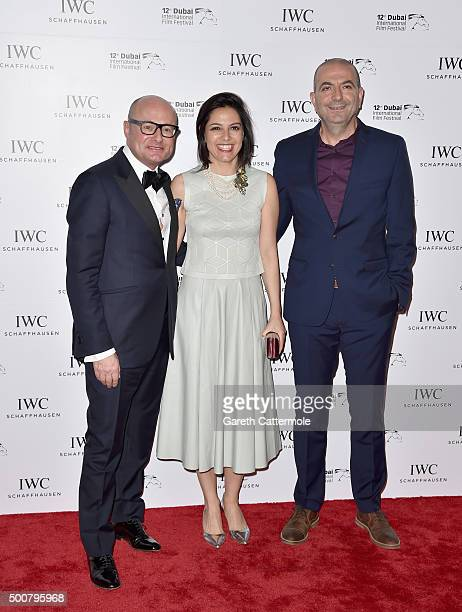 Schaffhausen CEO Georges Kern producer Amira Diab and director Hany AbuAssad attend the IWC Filmmakers Award during day two of the 12th annual Dubai...