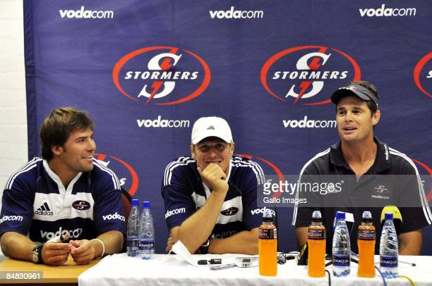 Schalk Brits Jean de Villiers and coach Rassie Erasmus of the Stormers attend the Stormers Super 14 press conference at the Bellville High Perfomance...