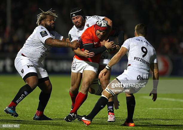 Schalk Brits of Saracens is tacked during the European Rugby Champions Cup between Saracens and RC Toulon at Allianz Park on January 21 2017 in...
