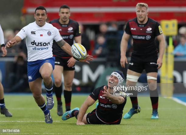 Schalk Brits of Saracens off loads the ball during the Aviva Premiership match between Saracens and Bath Rugby at Allianz Park on April 15 2018 in...