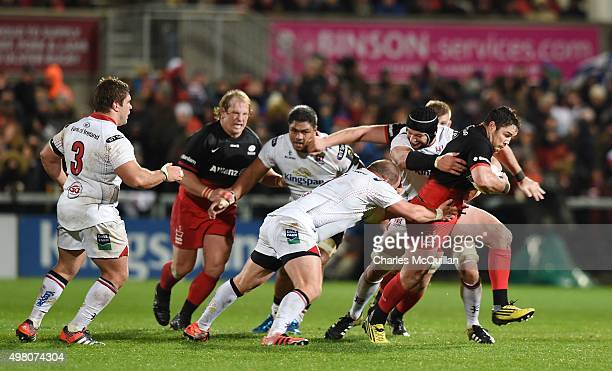 Schalk Brits of Saracens runs towards the line during the European Champions Cup Pool 1 rugby game at Kingspan Stadium between Ulster and Saracens on...
