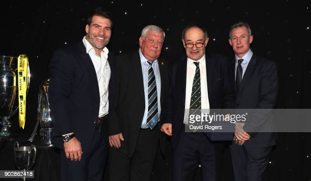 Schalk Brits of Saracens Tony Rowe owner of Exeter Chiefs Rob Howley Lions assistant coach present Michael Harrison chairman of Wharfedale rugby club...