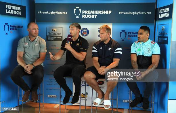 Schalk Burge of Saracens Josh Bassett of Wasps Jordan Crane of Bristol Bears and Francis Saili of Harlequins are pictured during the announcement of...