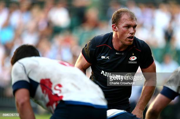 Schalk Burger of Saracens in action during the pre season friendly match between Saracens and London Scottish FC at Honourable Artillery Company on...