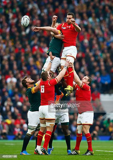 Schalk Burger of South Africa and Sam Warburton of Wales compete for the ball in the line out during the 2015 Rugby World Cup Quarter Final match...