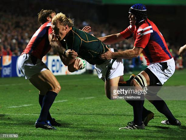 Schalk Burger of South Africa can not be stopped from scoring a try during match fourty of the Rugby World Cup 2007 between South Africa and USA at...