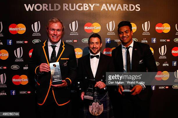 Schalk Burger of South Africa Greig Laidlaw of Scotland and Julian Savea of New Zealand pose after receiving the Societe Generale RWC Dream Team...