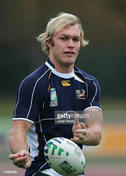 Schalk Burger of South Africa passes the ball during the South Africa training session at the Stade Alain Mimoun on October 17 2007 in Noisy Le Grand...