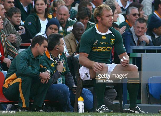 Schalk Burger of South Africa sits on the bench after being yellow carded during the Second Test match between South Africa and the British and Irish...