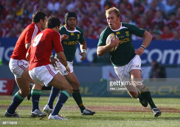 Schalk Burger of South Africa surges forward during the Second Test match between South Africa and the British and Irish Lions at Loftus Versfeld on...