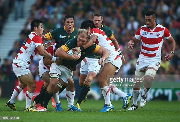 Schalk Burger of South Africa tries to break the gain line during the 2015 Rugby World Cup Pool B match between South Africa and Japan at the...