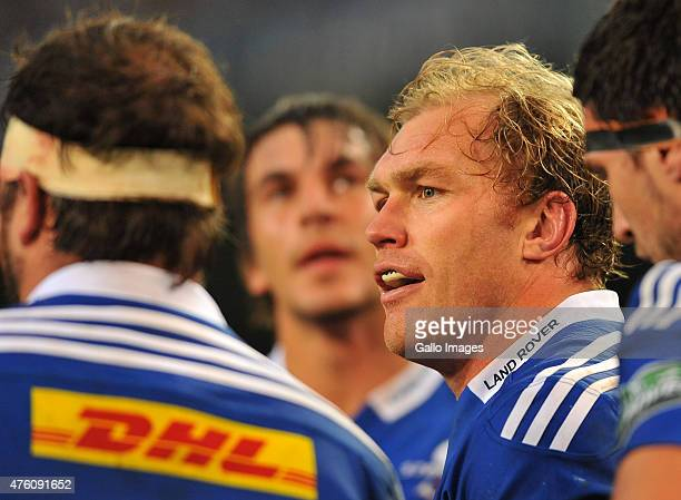 Schalk Burger of the Stormers has team talk during the Super Rugby match between DHL Stormers and Emirates Lions at DHL Newlands Stadium on June 06...
