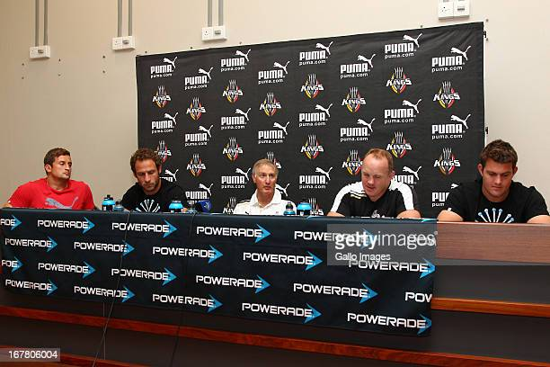 Schalk Ferreira Andries Strauss Alan Solomons Coach Matt Sexton of the Southern Kings and Steve Sykes during the Southern Kings training session and...