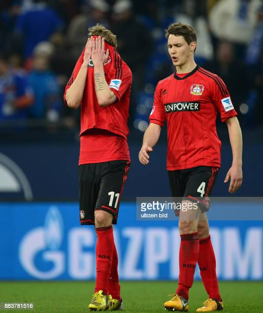 FUSSBALL 1 BUNDESLIGA SAISON FC Schalke 04 Bayer 04 Leverkusen Stefan Kiessling und Philipp Wollscheid sind nach dem Abpfiff enttaeuscht