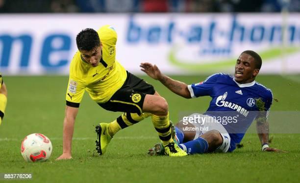 25 Spieltag Saison 2012/2013 FUSSBALL 1 BUNDESLIGA SAISON FC Schalke 04 Borussia Dortmund Nuri Sahin gegen Jefferson Farfan