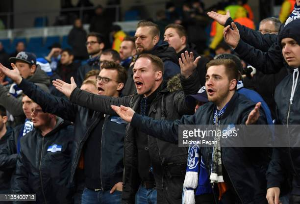 Schalke 04 fans react after the UEFA Champions League Round of 16 Second Leg match between Manchester City v FC Schalke 04 at Etihad Stadium on March...