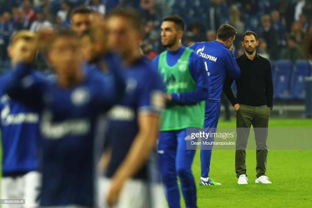 Schalke 04 Manager / Head Coach, Domenico Tedesco looks on after the Bundesliga match between FC Schalke 04 and Bayer 04 Leverkusen at Veltins-Arena on September 29, 2017 in Gelsenkirchen, Germany.