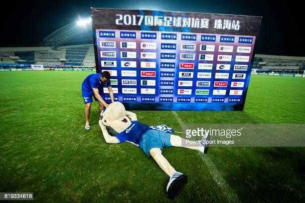 Schalke 04 Mascot Erwin takes a rest on the grass after Schalke winning against Besiktas 3 2 during the Friendly Football Matches Summer 2017 between...
