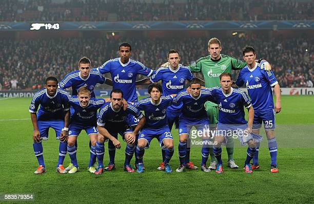 FC Schalke 04 players pose for a team photograph before the UEFA Champions League Group B match between Arsenal and FC Schalke 04 at the Emirates...