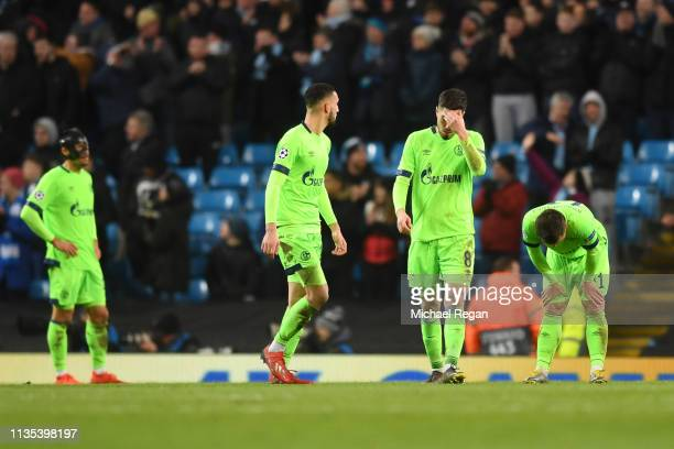 Schalke 04 react after Manchester City score their sixth goal during the UEFA Champions League Round of 16 Second Leg match between Manchester City v...