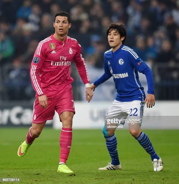 FUSSBALL CHAMPIONS FC Schalke 04 Real Madrid Atsuto Uchida gegen Cristiano Ronaldo