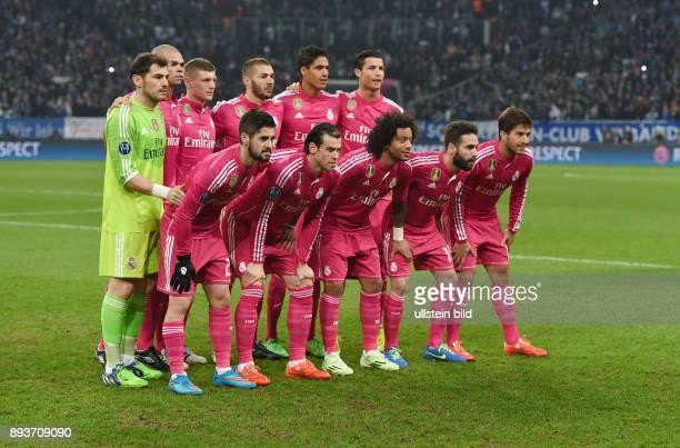 FUSSBALL CHAMPIONS FC Schalke 04 Real Madrid Mannschaftsbild Real Madrid Torwart Iker Casillas Pepe Toni Kroos Karim Benzema Lucas Silva Cristiano...