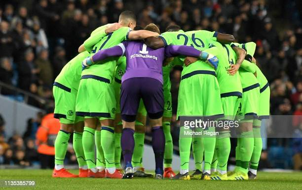 Schalke 04 team huddle ahead of the UEFA Champions League Round of 16 Second Leg match between Manchester City v FC Schalke 04 at Etihad Stadium on...