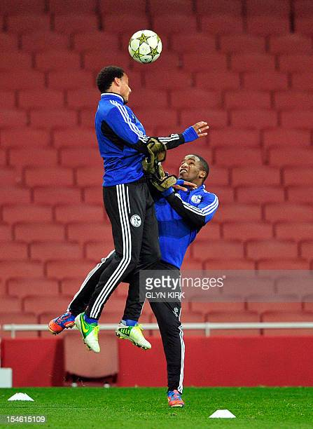 FC Schalke 04's US midfielder Jermaine Jones and Peruvian striker Jefferson Farfan vie for the ball during a training session on the eve of their...
