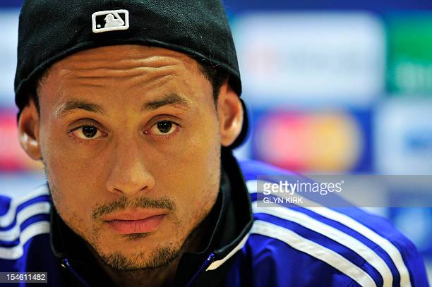 FC Schalke 04's US midfielder Jermaine Jones gives a press conference on the eve of their UEFA Champions League group B football match against...