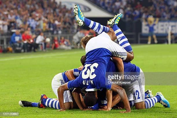 Schalke celewbrates the fifth goal during the UEFA Europa League play-off second leg match between FC Schalke and HJK Helsinki at Veltins Arena on...