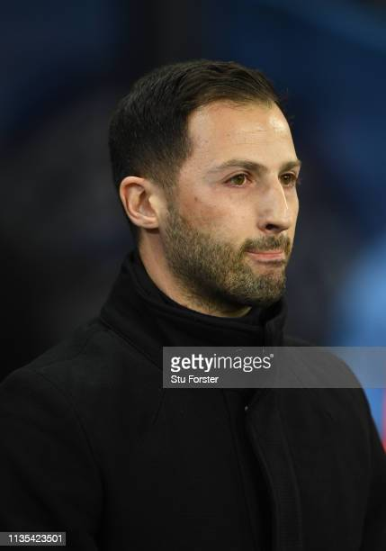 Schalke coach Domenico Tedesco looks on during the UEFA Champions League Round of 16 Second Leg match between Manchester City v FC Schalke 04 at...