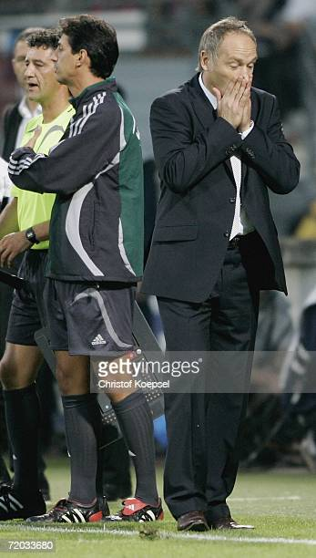 Schalke manager Andreas Mueller looks disappointed during the UEFA Cup second leg match between AS Nancy and Schalke 04 at the Marcel Picot Stadium...