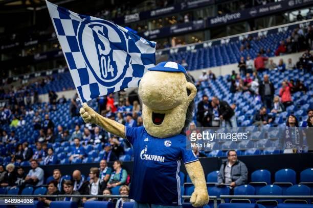 Schalke Mascot Erwin prior the Bundesliga match between FC Schalke 04 and VfB Stuttgart at VeltinsArena on September 10 2017 in Gelsenkirchen Germany