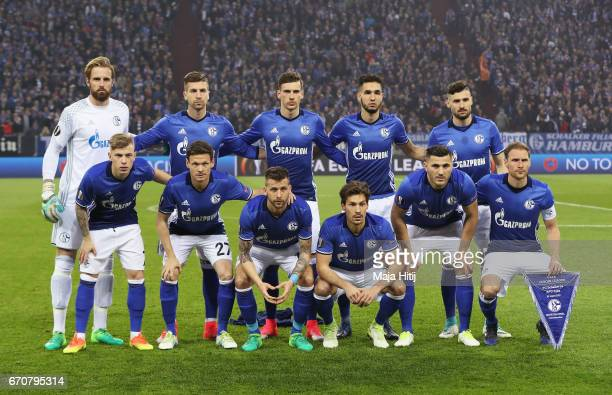 Schalke team line up prior to the UEFA Europa League quarter final second leg match between FC Schalke 04 and Ajax Amsterdam at VeltinsArena on April...
