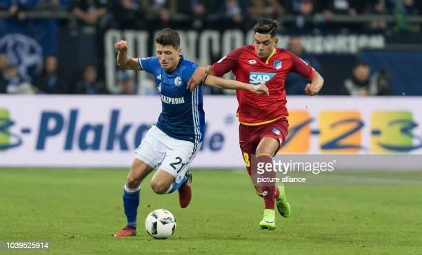 Schalke's Alessandro Schöpf and Hoffenheim's Nadiem Amiri vie for the ball during the German Bundesliga soccer match between FC Schalke 04 and TSG...