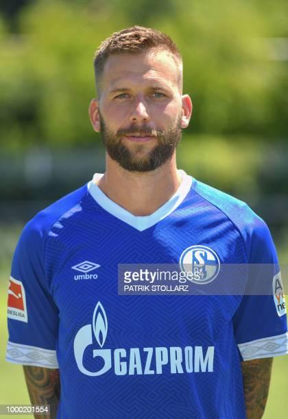 Schalke's Austrian forward Guido Burgstaller poses for a picture during the presentation of the team of the German Bundesliga Schalke 04 football...