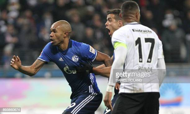 Schalke's Brazilian defender Naldo celebrates scoring the 22 during the German first division Bundesliga football match between FC Schalke 04 and...
