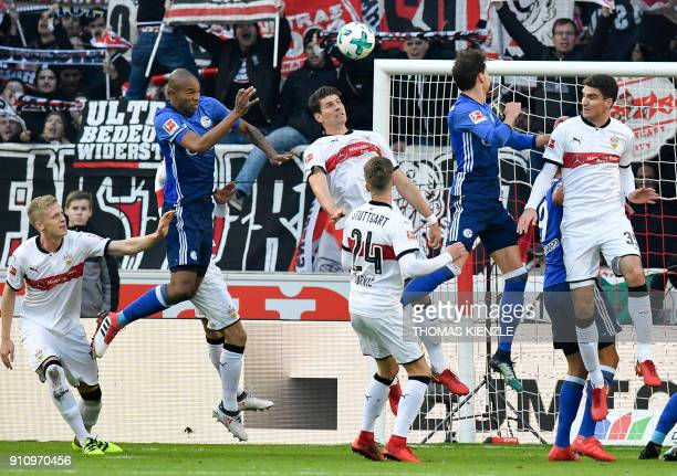 Schalke's Brazilian defender Naldo heads the ball before scoring the opening goal during the German first division Bundesliga football match VfB...