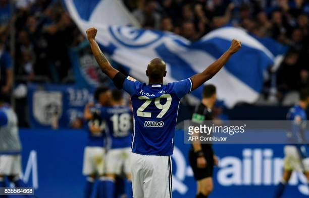 Schalke's Brazilian defender Naldo reacts during the German First division Bundesliga football match FC Schalke 04 vs RB Leipzig in Gelsenkirchen...