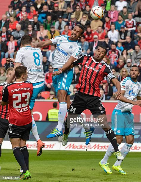 Schalke's Cameroonian defender Joel Matip and his brother Ingolstadt's defender Marvin Matip vie for the ball during the German first division...