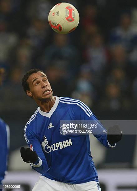 Schalke's Cameroonian defender Joel Matip plays the ball during the German first division Bundesliga football match FC Schalke 04 vs Eintracht...