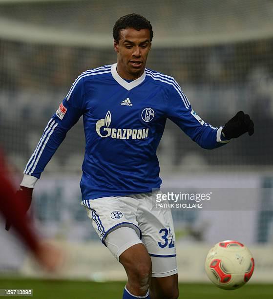 Schalke's Cameroonian defender Joel Matip plays the ball during the German first division Bundesliga football match FC Schalke 04 vs Hanover 96 in...