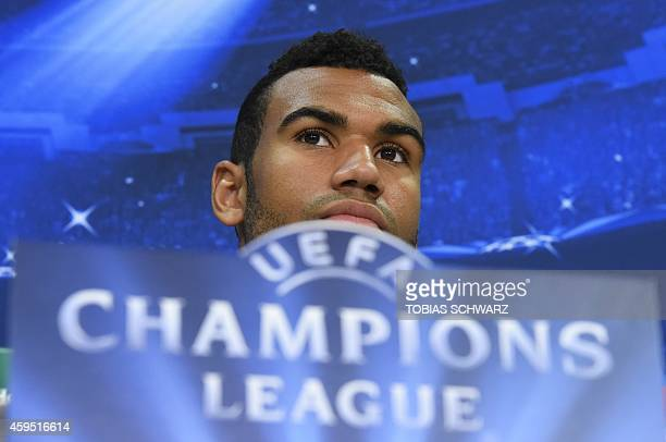 Schalke's Cameroonian forward Eric Maxim ChoupoMoting attends a press conference on the eve of the UEFA Champions League second leg Group G football...