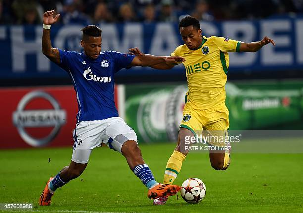 Schalke's defender Dennis Aogo and Sporting's Peruvian forward Andre Carillo vie for the ball during the first leg UEFA Champions League Group G...