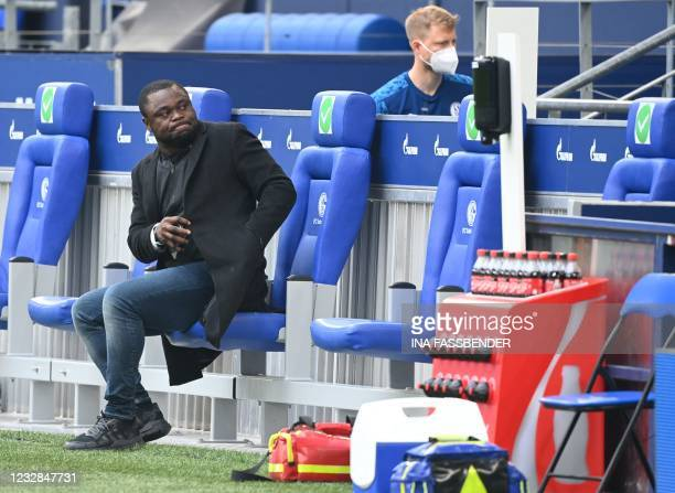 Schalke's former forward Gerald Asamoah looks on prior to the German first division Bundesliga football match FC Schalke 04 v Hertha Berlin on May...