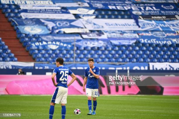 Schalke's French defender Jean-Clair Todibo reacts after the 1-2 during the German first division Bundesliga football match FC Schalke 04 v Hertha...